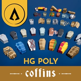 Hotgates presents - A low poly asset pack full of modular coffins.