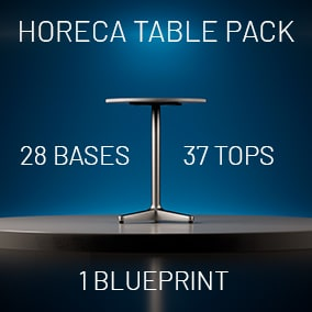 Modular and frequently used HoReCa table bases and tops collection with blueprint setup for effortless use.