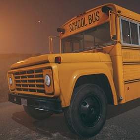 1970s school bus in two variations with the exterior and interior