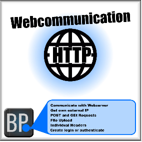 HTTP Communication with Web server over Blueprints. Use GET or POST. File Upload and File Download. Login or authenticate. PHP. Get your own external IP.