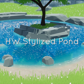 A stylized environment featuring low poly rocks, parameterized grass with visual wind lines, and a modular water shader with shoreline detection, half-in/half-out underwater effects and caustics.