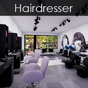 A Hair Salon made with high quality objects. Scene included.