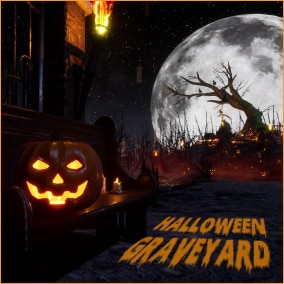 Environment of a graveyard in Halloween night