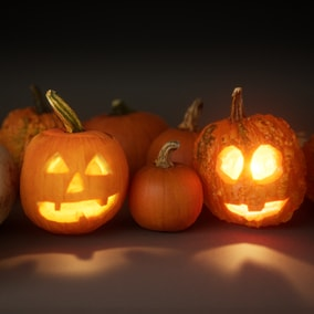 Seasonal pumpkins and jack-o-lanterns
