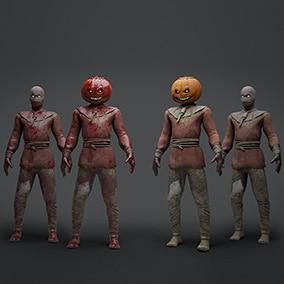 Scarecrow character with variety of heads and texture.