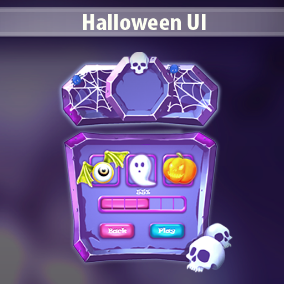 Halloween UI is a complete art set of UI components, icons, buttons.