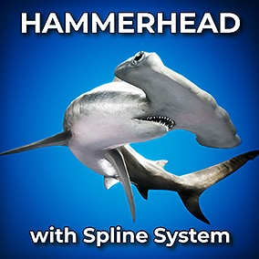 This Hammerhead comes with a procedural spline animation system, and opens its mouth when it nears the player!