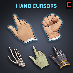A set of 80 hand painted hand cursors.