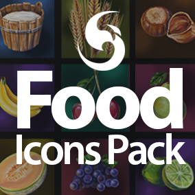 50 premium quality hand drawn food icons (Cereals, Drinks, Fruits, Proteins and Vegetables), ideal for 2D games or UI.