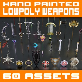 60 fantasy weapons with detailed hand-painted textures and precise low-poly meshes