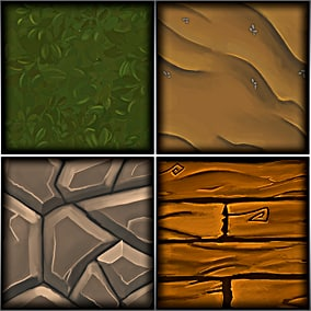 6 Hand painted tileable textures