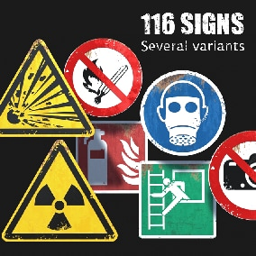 This asset contains 116 hazard and safety signs that comply with international standards