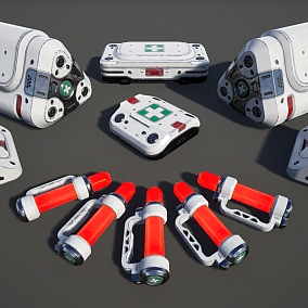 5 medical kits of different sizes in 5 color variations.