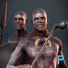Realistic warrior based on African Zulu Warriors