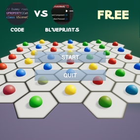 Hex Blocks Game BP vs CPP, template for creating logic mobile, pc and console games