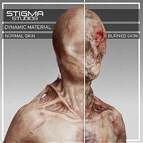 High-Quality Zombie 01 with Dynamic Material for skin, Normal Skin to Burnt Skin.