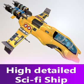 High detailed space ship. Perfect for simulator and FPS game.