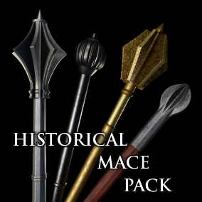 A set of 12 realistic maces from medieval and early modern period.