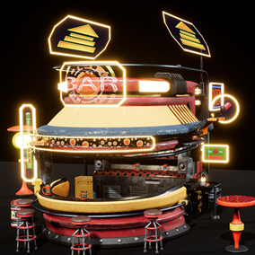 Holographic - Bar, Stylized, low poly, and sci-fi