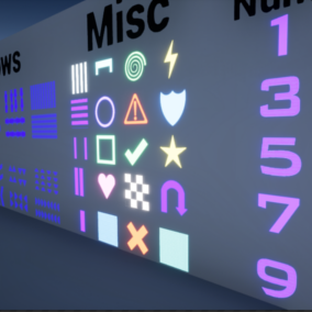 Multiple styled Holograms that can be modified for their colour, emissive light, opacity, static and movement. Including 10 Arrow designs, 20 icon designs and numbers 0 to 9, these have also been made into deferred decal for your convenience.