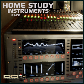 Classic audio instruments and hardware in a home studio of musical production designed as equipment with all the controls and real characteristics.