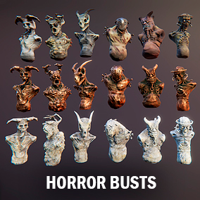 Here you find four horror bust models and three parts for pedestal constructing.