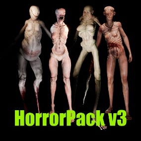 The Pack of 4 horror characters with Epic skeleton and facial morphs