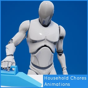 25 Animations performing various household chores. Targeted to the UE4 Mannequin.