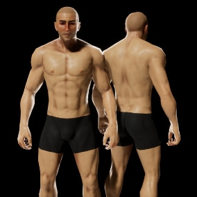 Fully rigged and game ready Human Base Male character.