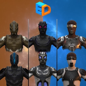 Three low poly original characters rigged, with two texture variations.