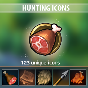A set of 123 hand drawn Hunting Icons.