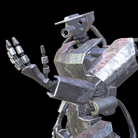 Low-poly realistic model of hydraulic robot with customizable materials