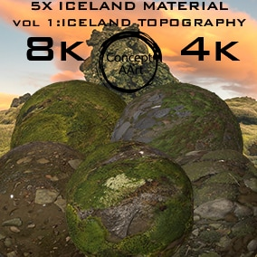5 Super Realistic Iceland Materials for all platforms. All Textures have their own 8K,4K,2K and 1K version and ready for every kind of project.