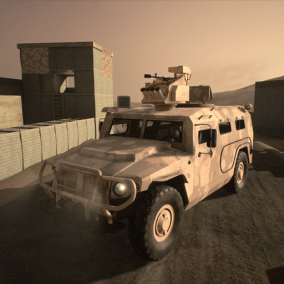 Fully functional vehicle with sounds and physics, working turret and mounted gun.