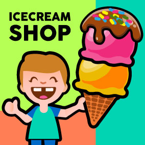 This is a complete 2D art package for customer serving ice cream shop games.