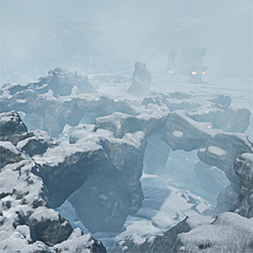 The IceSnowRockWorlds Pack feature 32 Rooks in a blueprint with a seamless Temporal AA blending material for the rocks and Landscape materials