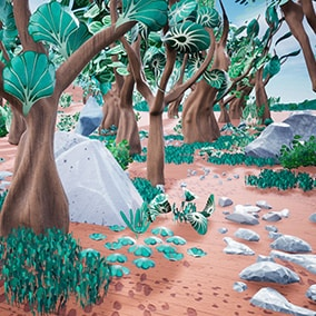 A set of stylized trees, plants and rocks illustrated by hand (PBR)