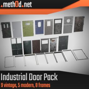 Industrial Door Pack containing 9 vintage doors, 5 modern doors, and 8 door frames.