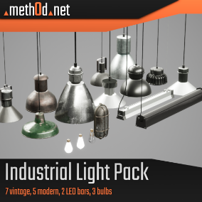 Industrial Light/Lamp Pack containing 7 vintage lights, 5 modern lights, 2 LED bars and 3 bulb versions