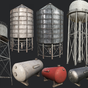 Old Industrial Structures such a Big Wind Turbine, Water Tower, Silos, and Gas Tanks for Exterior Decoration
