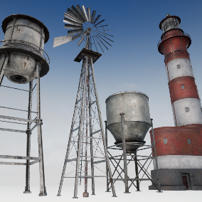 Old Industrial Structures such a Steel Wind Mill, Water Tower, Silo, and a Lighthouse for Exterior Decoration