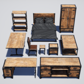 10 pieces of industrial style furniture for Architectural Visualization, Games, Virtual Reality and other real-time apps.