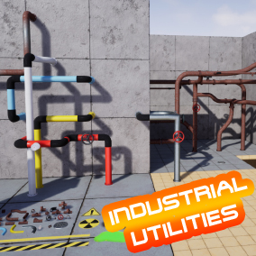 This is a pack of modular industrial and utility assets including various pipes, decals, toxic waste, valves, and more.