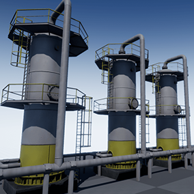 High quality PBR models for the creation of industrial landscapes with modular pipes.