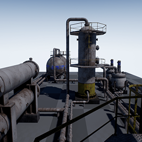 High quality PBR models PACK for the creation of industrial landscapes with modular pipes.