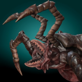 Low-poly model creature Insect Monster Devourer; Ready to game.