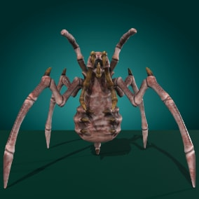 Low-poly model creature Insect Tusk Monster; Ready to game