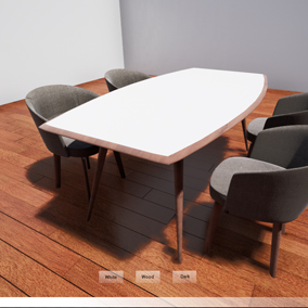 A dining set with material changing options for the table
