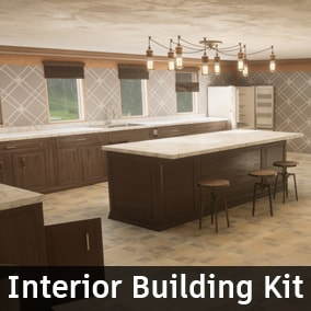This kit is designed to make modeling the interiors of a house as quick and efficient as possible. Various Blueprints were created to speed up the placement of walls, windows, beds, countertops, floors, blocking volumes, lights, and much more.