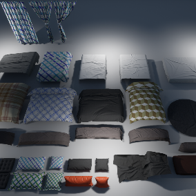 Collection of some most commonly seen interior fabric props with baked normals,ready for game or arch visualization.